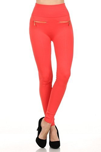 Primary image for ICONOFLASH Women's High Waist Fleece Lined Legging with Double Zipper Detail ...