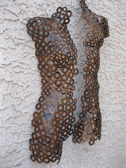 nude torso metal art sculpture by holly lentz