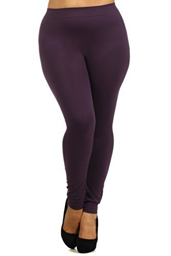 Primary image for Women's Plus Size Seamless Solid Color Nylon Legging, Dark Plum