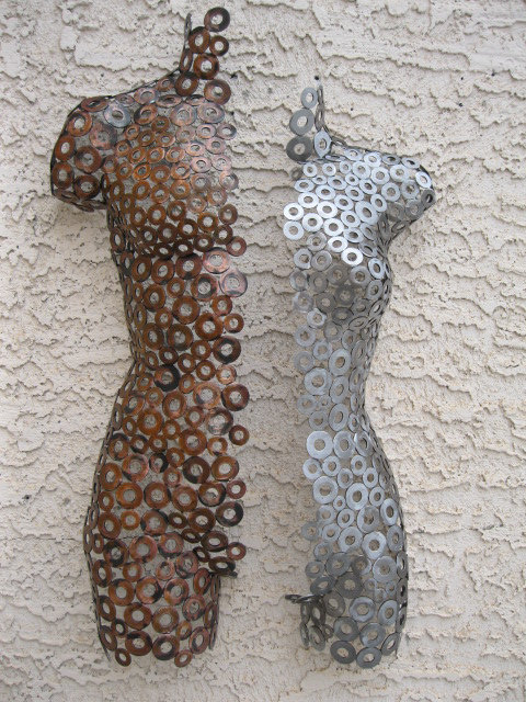 Metal Wall art sculpture abstract torso by Holly Lentz