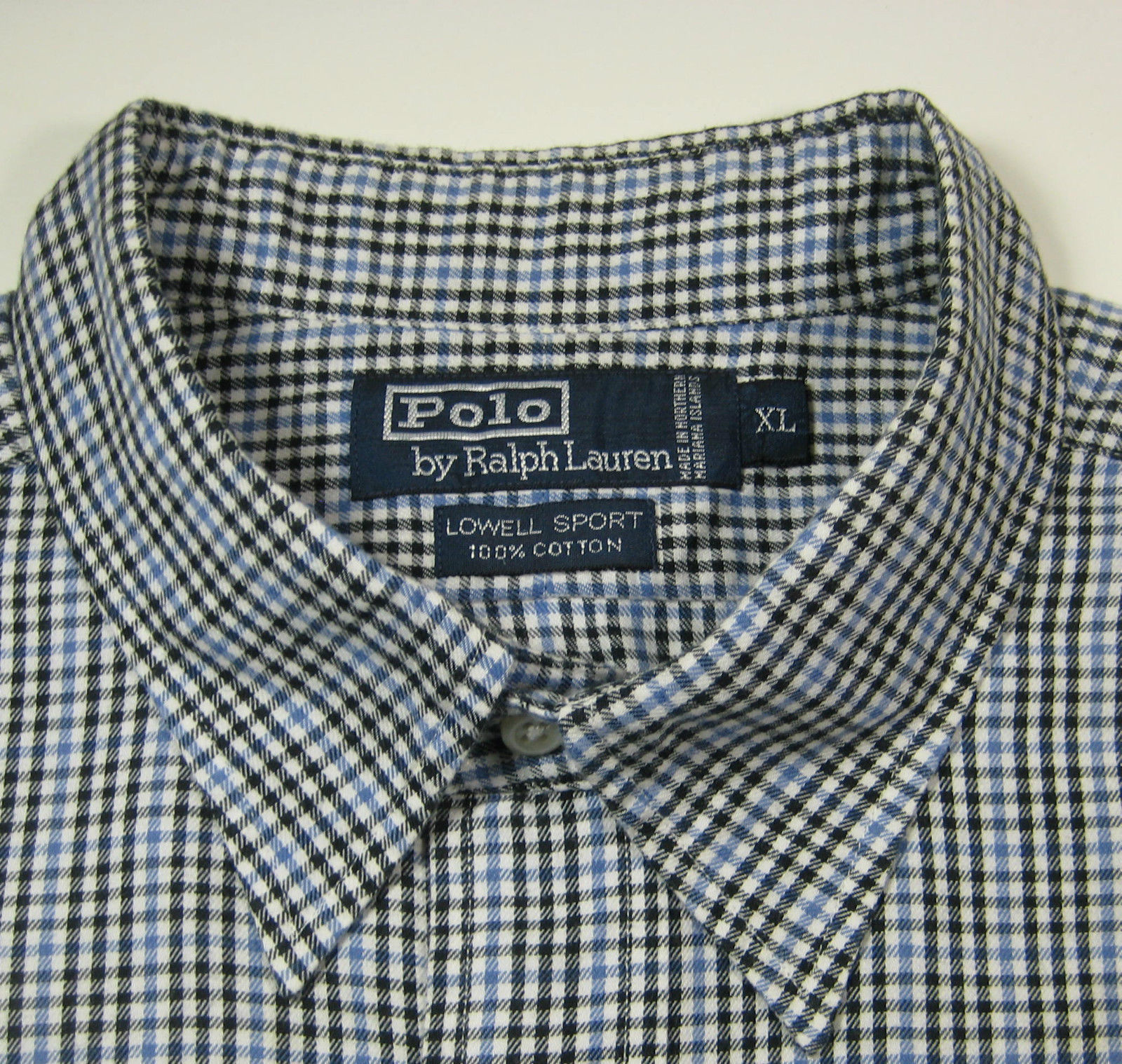 "Primary image for POLO RALPH LAUREN XL ""Lowell Sport"" Blue Gingham Plaid Shirt Excellent RARE"