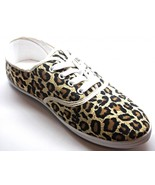 Womens Leopard Animal Print Tan Canvas Lace Up Sneakers Tennis Shoes NEW - $20.99