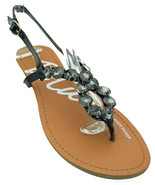 Womens Jeweled Sandals Low Wedge Slingback Black White   - $11.99