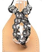 Womens Black Beaded Jeweled Slingback Low Wedge Sandals Flip Flops  - $18.48