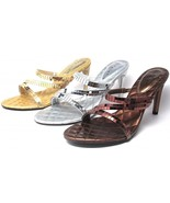 Party Shoes High Heels Sandals Mirrored Strappy Silver Gold Bronze Size ... - $24.14