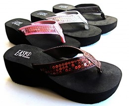 Womens Sequined Flip Flops Platform Wedge Thongs Sandals Size 5 - 11 NEW - $14.99