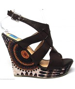 Womens Platform Side Print Lace Wedge Sandals Shoes Brown NEW - $19.99