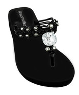 Womens Black Wedge Thongs Flip Flops Sandals Beaded Macrame Strap Size 6... - $19.94