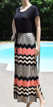 Design History Womens Size Small Dress Black Coral Chevron Long Full Length - $15.96