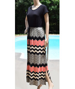 Design History Dress Black Coral Chevron Cap Sleeve Long Full Length S X... - $19.95