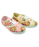 Womens Floral Print Canvas Lace Up Sneaker Plimsoll Tennis Shoes Pink Tan - €13,14 EUR