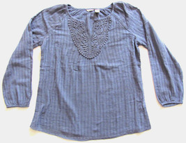 Women's IZOD XS S Long Sleeve Embroidered Tunic Shirt Top Green White NWT - $9.54
