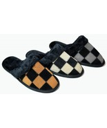 Mens Scuff Slippers Closed Toe Checkered Suede Camel Gray Beige  - $13.63