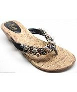 Crystal Beaded Chain Bling Cork Wedge Sandals Black Silver Gold  - $15.99