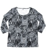 Womens Jones New York T Shirt Stretch Cotton 3/4 Sleeve Top Black Snakes... - $15.20