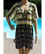 Beaded Bathing Suit Cover Up Kimono Tunic Yellow Black Sheer S M NWT  - $14.40