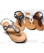 Women's Metallic Braided Gladiator T-Strap Thongs Sandals Flip Flops 7-1... - $20.98