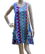 Tunic Dress Womens Multicolor Zig Zag Print T Back Top One Size NWT - $15.94