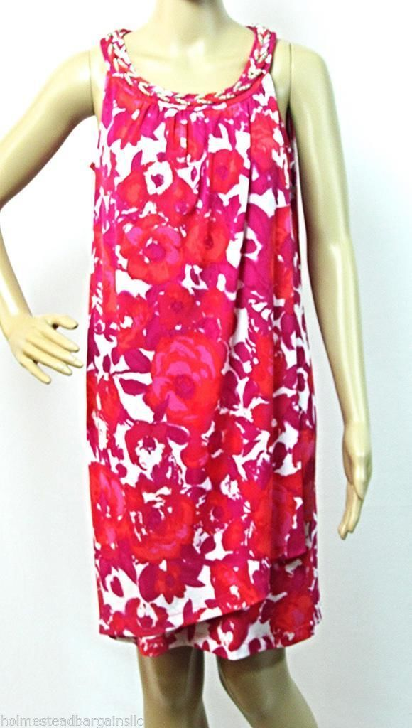 Primary image for Size 6 Sheath Dress Donna Ricco Silver Chain Neck Sarong Style Pink Fuchsia NWT