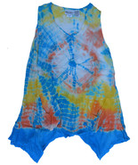 BOHO India Uneven Hem Tie Dye Long Cover Up Top ONE SIZE NWT - $10.49