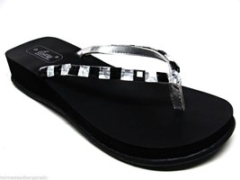 Black Beaded EVA Wedge Thong Flip Flops Sandals Size US 6 -11 NWB - $19.98