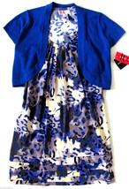 R & K Blue Multicolor Two Piece Racerback Dress Bolero Sweater Size US 6... - $29.68