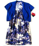 R & K Womens Size 6 Two Piece Racerback Dress Bolero Sweater Blue New - $20.77