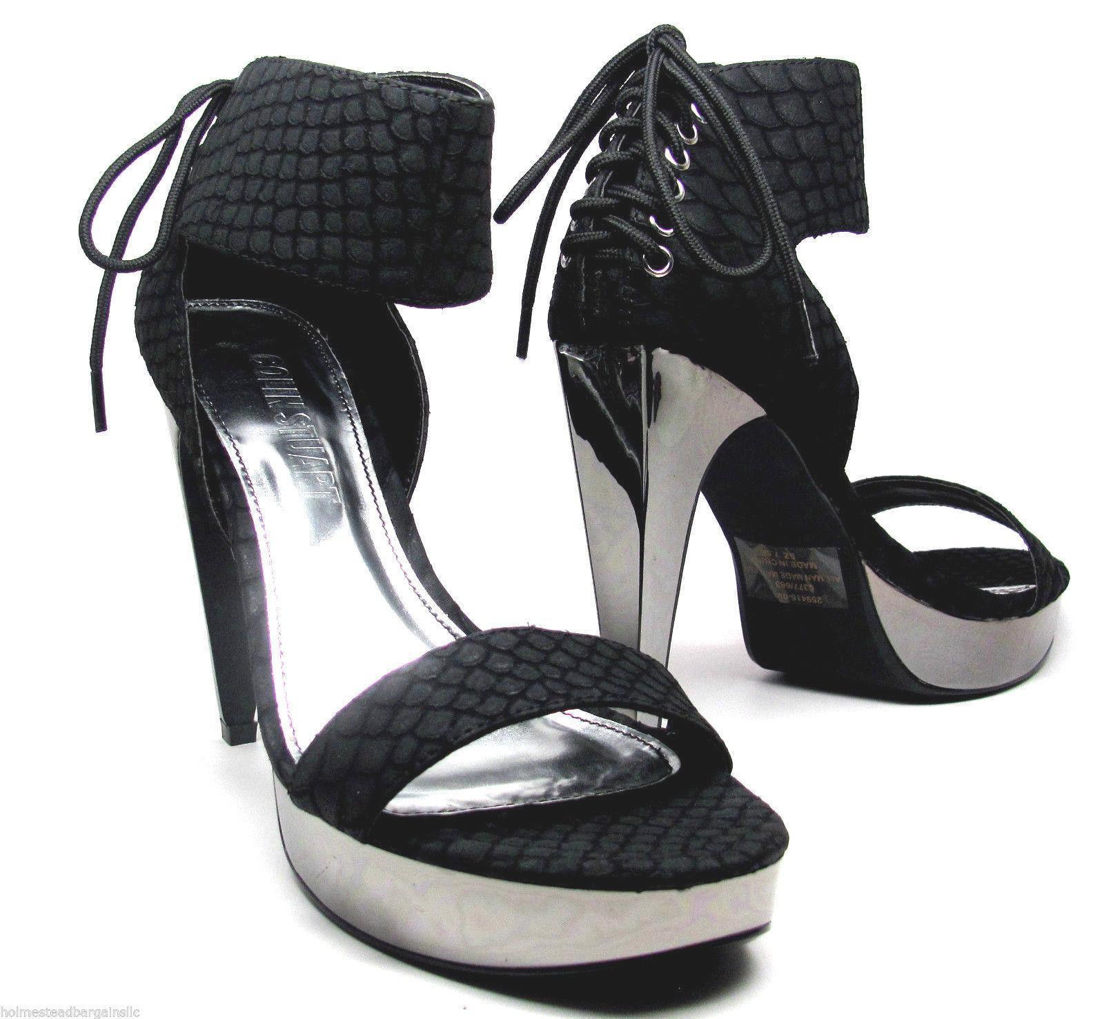 73f44b8ad88580 Colin Stuart Sandals Black Silver Snake Pattern Open Toe Stiletto Shoes 7.5  NEW -  33.60