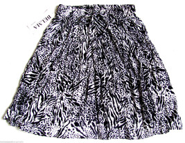 India Gauze BOHO Hippie Skirt Black White Animal Print Stretch Full One ... - $16.81