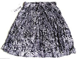 India Gauze BOHO Hippie Skirt Black White Animal Print Stretch Full One ... - $22.61 CAD