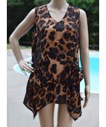 Womens Long Tunic Uneven Hem Animal Print V Neck Top Sleeveless Shirt ON... - $8.39