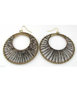 "Large 2.25"" Gold Wire Wrapped Metallic Pewter Beaded Double Hoop Earring... - $11.87"