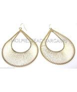 """Gold Wire Wrapped Dangle Teardrop Double Hoop Pierced Earrings 3"""" Long - $12.86"""