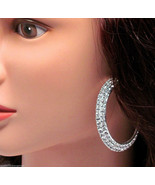 "NEW Two Row Crystal Silver 2"" Hoop Pierced Earrings NEW - $14.83"