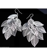 Sterling Silver 925 Multiple 9 Leaf Earrings Cut Out Cluster Drop Pierce... - $12.85