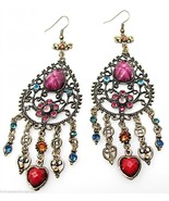 Archaize Crystal Chandelier Hearts Flowers Long Dangle Pierced Earrings ... - $12.86