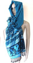 Pashmina Style Scarf Wrap Shawl Reversible Metallic Stitching Made in US... - $16.99