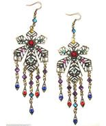 Multi Color Crystal Chandelier Long Dangle Drop Pierced Earrings #11 - $12.86