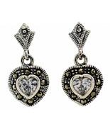 Sterling Silver Dangle Heart Marcasite Pierced Earrings White Cubic Zirc... - $23.76