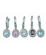 Sterling Silver Callista Oval Cut Brilliant Clear CZ Accent Pierced Earr... - $24.62
