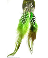 Natural Feather Dangle Drop Pierced Earrings Green NEW - $6.92