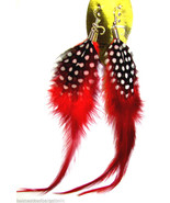 Genuine Natural Feather Dangle Drop Pierced Earrings Burnt Orange NEW - $8.90