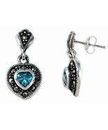 Sterling Silver Dangle Heart Marcasite Pierced Earrings Aqua Cubic Zirco... - $23.76