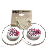 Silver Plated Hoop Rock Star Pink Guitar Button Pierced Fish Hook Earrin... - $3.95