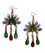 Crystal Chandelier Archaize Vintage Design Peacock Dangle Earrings #7 - $12.86