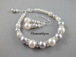 Ivory grey bridesmaid Bracelet and earrings, Seven bridesmaid gift, Simple pearl - $40.00