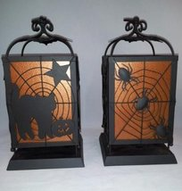 Metal Halloween Candleholder Lanterns-  Set of 2 - $29.99