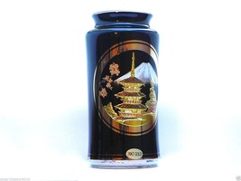The Art Of Chokin Ancient Art Black Vase 24KT Gold & Silver Made in Japan - $15.95