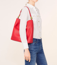 NWT Tory Burch Duet Leather Hobo / Shoulder Bag in Cherry Apple/ New Ivo... - $329.00