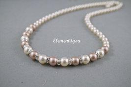 6 Bridesmaid necklaces Bridal Swarovski white ivory pink grey pearls Elegant jew - $35.00